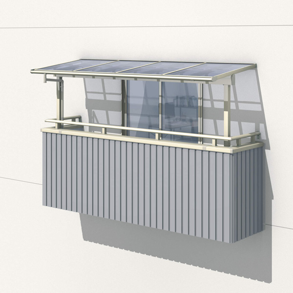 三協アルミ レボリューZ 4.0間×6尺 1500タイプ/メーターモジュール/3階用F型/出幅移動収まり/2連結  『テラス屋根』 熱線吸収ポリカ
