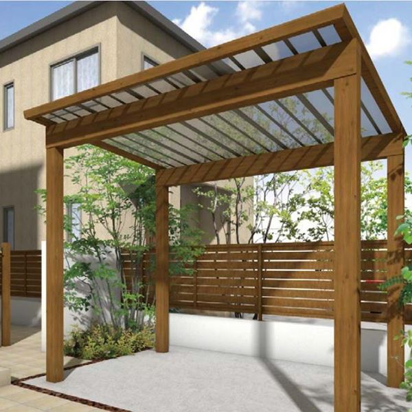 サイクルポート タカショー スノースタイル ミニ 熱線吸収ポリカ屋根使用(ブルースモーク) ロング柱(H25) 2990×2498  『サビに強いアルミ製 家庭用 おしゃれ 自転車置場 屋根』