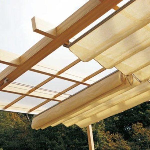 タカショー ポーチテラス オプションアイテム ロープ式開閉シェード 1.5間×8尺 サンドストーン