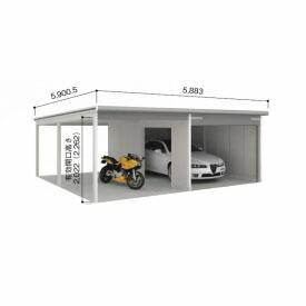 ヨドガレージ ラヴィージュ VGCU-3055+VKCU-2855 オープンスペース連結タイプ 『シャッター車庫 ガレージ』