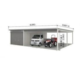 ヨドガレージ ラヴィージュ VGCU-3062H+VKCS-5062H オープンスペース連結タイプ 『シャッター車庫 ガレージ』