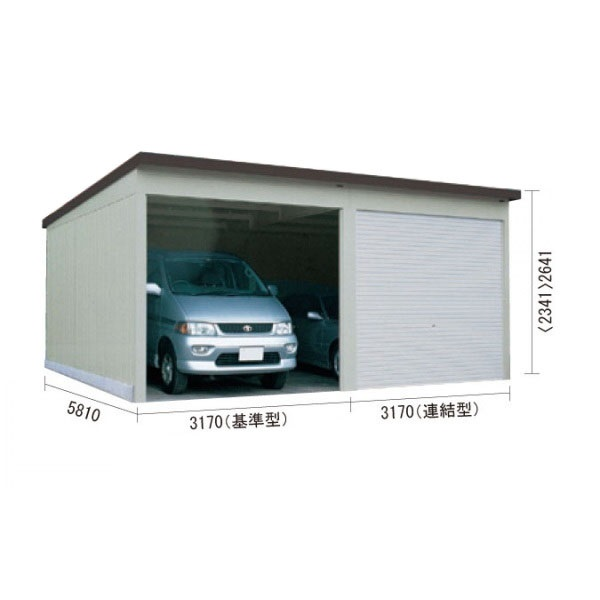 ダイケン ガレージ CH-KB3258型(3連棟・多雪・結露防止型) 『シャッター車庫 ガレージ』 オータムグレー