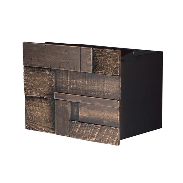 オンリーワン ノイエキューブ ブロックウッド ブロック埋め込み仕様 GM1-E6BL3 ヴィンテージブラウン 『郵便ポスト』 ヴィンテージブラウン