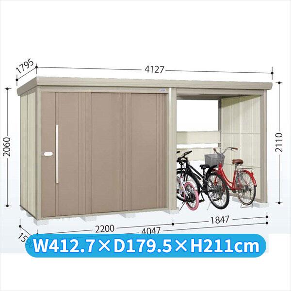 タクボ物置 TP/ストックマンプラスアルファ TP-40R15 一般型 標準屋根 『追加金額で工事も可能』 『駐輪スペース付 屋外用 物置 自転車収納 におすすめ』 カーボンブラウン