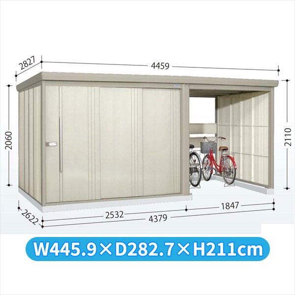 タクボ物置 TP/ストックマンプラスアルファ TP-43R26 一般型 標準屋根  『駐輪スペース付 屋外用 物置 自転車収納 におすすめ』 ムーンホワイト