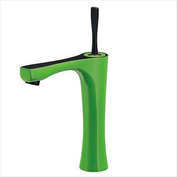 カクダイ 水栓金具 神楽 シングルレバー混合栓(ミドル・ライムグリーン) 183-233GN-GR