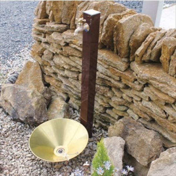 オンリーワン カラーアルミ立水栓 Lite(蛇口セット) 水栓柱 GM3-ALLBF +水鉢セット   レザーブラウン