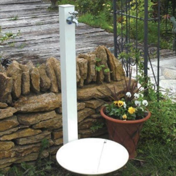 オンリーワン カラーアルミ立水栓 Lite(蛇口セット) 水栓柱 GM3-ALWHF +水鉢セット  ホワイト
