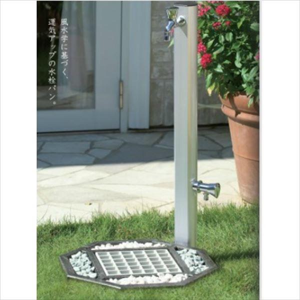 オンリーワン 水栓パン オクタゴン 水栓柱パン HV3-G211P8-B + アルミ水栓柱900 HV3-ALS90S +吉色の石(ホワイト・ブルー)+蛇口+補助蛇口セット   シルバー/ブラック