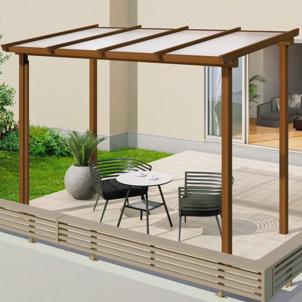 三協アルミ ナチュレ テラスタイプND型 独立納まり 標準柱 600タイプ 1.0間×10尺 関東間 単体TPDAA-P-6010 屋根:ポリカーボネート板