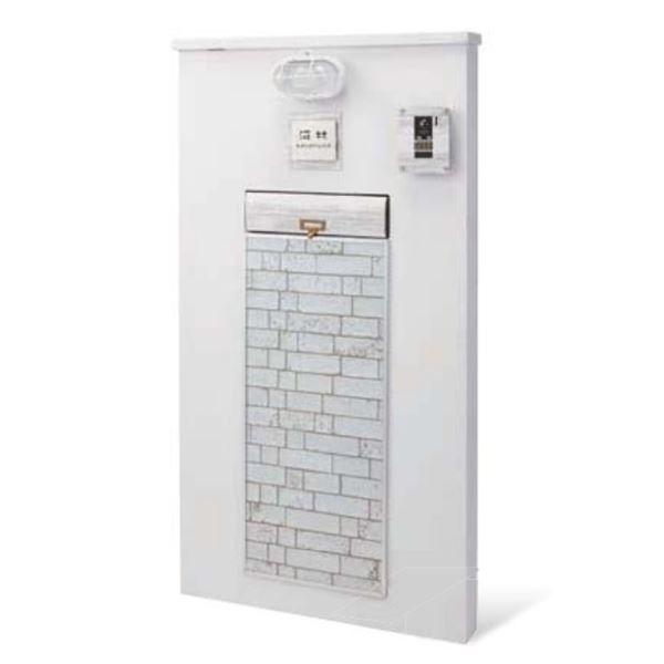 トーシン エレメントブロック VOL.10 P27-1(本体・照明・表札・ポスト・インターホンカバー付きセット) GW-EB800B-WH ブリック/ホワイト