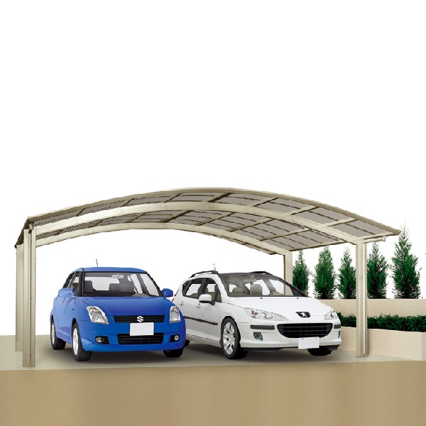 キロスタイル-IS モダンポートワイド76 2台用 6056 標準高 基本セット 熱線遮断・吸収ポリカーボネート板『アルミカーポート 自動車屋根』