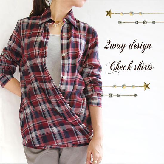 【日本製】【チェックシャツ】2way チェックシャツ カシュクールシャツ【メール便可】レディース シャツ チェック 綿 ロールアップ レッド ネイビー