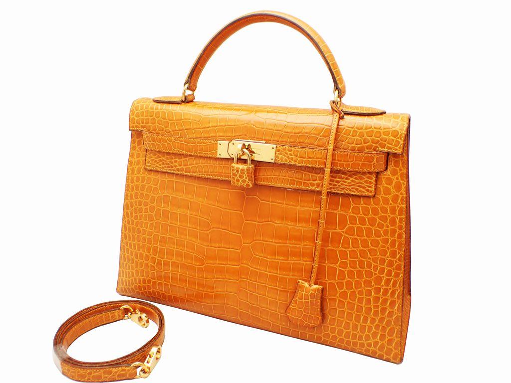 HERMES エルメス ケリー32 クロコダイル ポロサス ゴールド金具 〇X刻印 サフラン系 外縫い 2WAY ハンドバッグ 1994年製