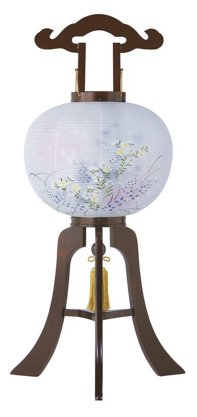 【木製提灯】12号さくらBL 絹二重張り 足板厚め 撫子と桔梗の絵柄 電装コード付き