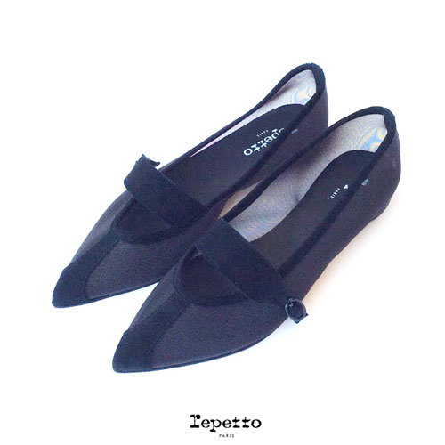repetto(レペット)Mylen Ballerinasポインテッドトゥ バレリーナシューズ バレエシューズ メッシュ スエード ベルテッドデザイン ヒール 1cm やぎ革 専用袋 黒 ブラック クロ Noir