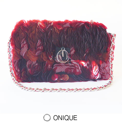 ONIQUE(オニーク) STREAM BAG スパンコール ハンドバッグ チェーン ストラップ パーティ フォーマル クリア レッド RED Ruby MADE IN ITALY HANDMADE FLORENCE セール  SALE OUTLET 50 半額