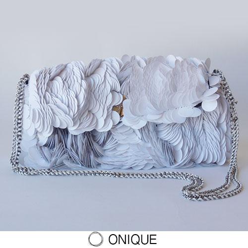 ONIQUE(オニーク)GRECALE BAG スパンコール ハンドバッグ チェーン ストラップ パーティ フォーマル ホワイト 白 WHITE MADE IN ITALY HANDMADE FLORENCE セール  SALE OUTLET 50 半額