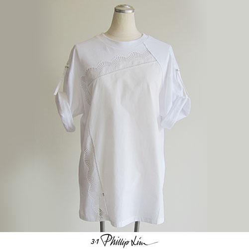 3.1 PhillipLim (3.1フィリップリム)HANDKERCJIEF JERSEY TSHIRTS ハンカチーフ ジャージー Tシャツ 綿 コットン 100% レース 装飾 半袖 五分袖 白