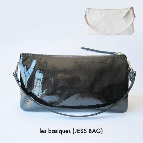 les basiques(JESS BAG)(ジェスバッグ) 3WAY エナメル ショルダーバッグ ミニバッグ クラッチバッグ パテント レザー 財布ポシェット ショルダー 日本製 白 黒 ホワイト ブラック
