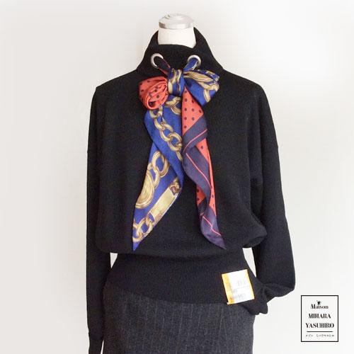 Maison MIHARA YASUHIRO メゾンミハラヤスヒロ タートルネック ニット スカーフ付き ウール 毛 100% 日本製 Made in Japan 黒 ブラック アウトレット OUTLET セールSALE 50% 半額 スカート セット販売 秋冬