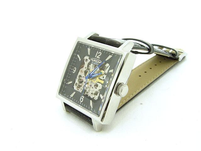両面スケルトン黒バンド角腕時計