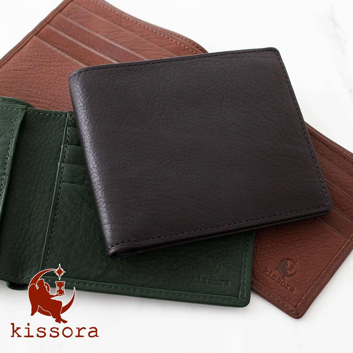 fb4312d6e4d4 送料無料 二つ折り財布 本革 kissora キソラ KIPT-068 メンズカーフ 財布 レザー