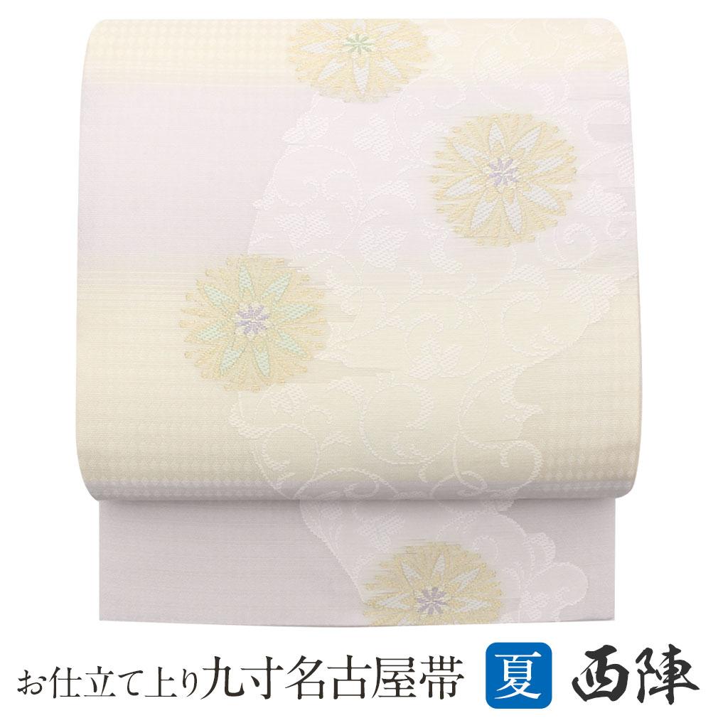 (袋帯) 夏物 (新古品) (夏物) 正絹 流水万寿菊模様 未着用超美品 (未使用) 紗袋帯