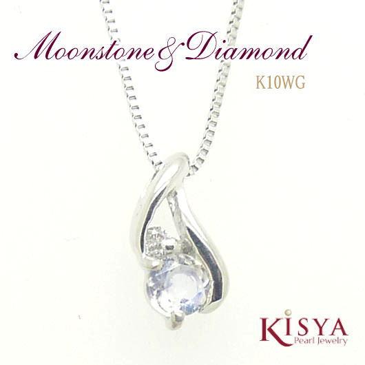 ブルームーンストーン ダイヤモンドネックレス K10