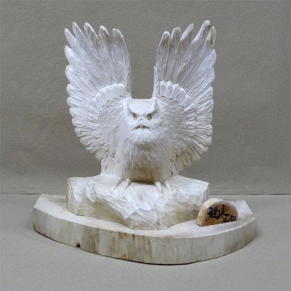 シナ材)フクロウ羽広げ1羽(白)40cm(dk-1 dk-2 dk-3)