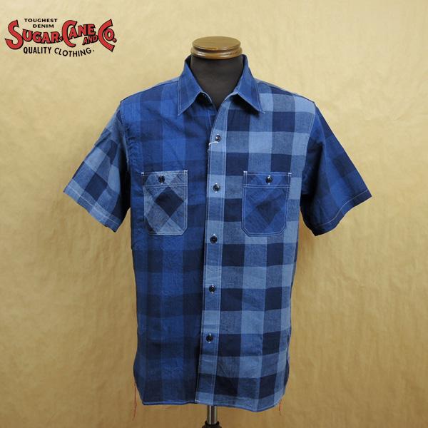 SUGAR CANE シュガーケーン 綿麻 インディゴ ダンガリー ブロックチェック 半袖 ワークシャツ SC38434 東洋エンタープライズ