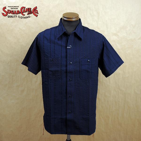 SUGAR CANE シュガーケーン インディゴ シアサッカー 半袖 ワークシャツ SC38437 東洋エンタープライズ