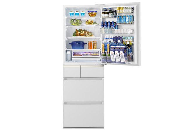 冷蔵庫 新品 パナソニック 微凍結パーシャル搭載 NR-E414GV-W 5ドア 右開き 内容量406L(冷蔵199L 冷凍79L 野菜室89L) ECONAVI