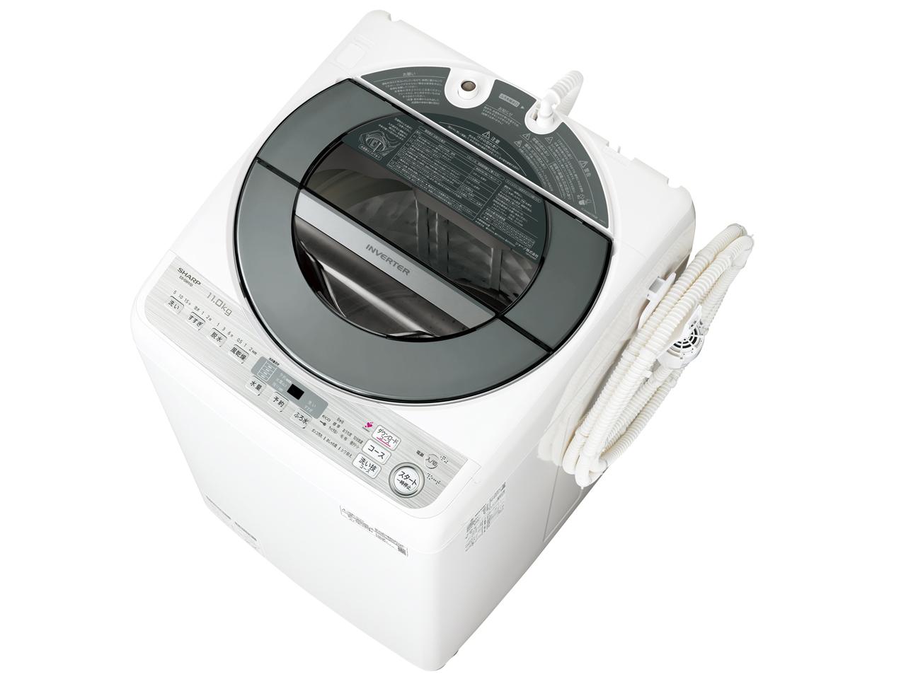 【新品/取寄品】【全国配送】【関東送料無料】【設置含む】シャープ ES-GW11D-S SHARP 11kg 風乾燥機能 大容量 インバーター制御 無線LAN対応 穴なしサイクロン洗浄