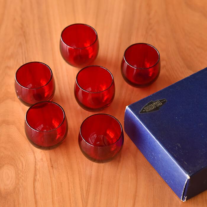 【北欧 アンティーク】ヌータヤルヴィ Marja マルヤ カクテルグラス レッド 6個セット《 ビンテージ vintage ヴィンテージ 》
