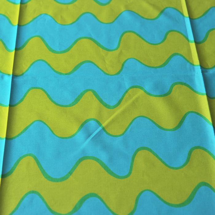 【 アンティーク 】 マリメッコ ヴィンテージ生地 ピックロッキ グリーン/ブルー 145×206cm 《 ビンテージ vintage ヴィンテージ 》 【 marimekko PIKKU LOKKI 】( キッチンブランチ )