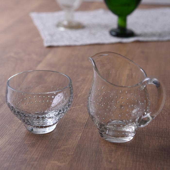 【 アンティーク 】 フィンランド製 ヴィンテージガラス クリーマー&シュガーカップ 《 ビンテージ vintage ヴィンテージ 》( キッチンブランチ )
