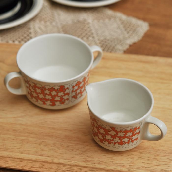 【 アンティーク 】 アラビア クリーマー&シュガーカップ オレンジ 《 ビンテージ vintage ヴィンテージ 》 【 Arabia キッチンブランチ 】