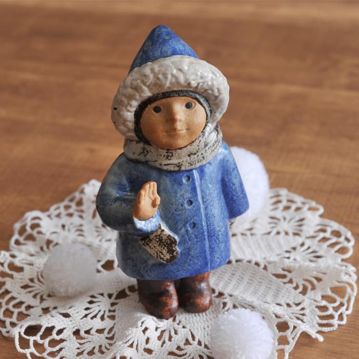 【 アンティーク 】 リサ・ラーソン 4 years old 青いコートの子供 《 ビンテージ vintage ヴィンテージ 》 【 Gustavsberg グスタフスベリ Lisa Larson リサラーソン SKULPTURER Four Years Old 】( キッチンブランチ )