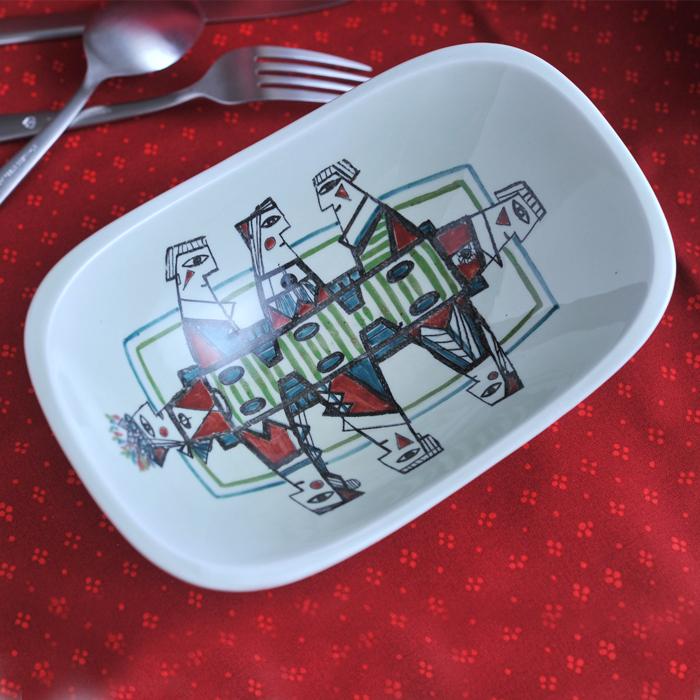 【 アンティーク 】 ロールストランド ポルカ レクタングルボウル 《 ビンテージ vintage ヴィンテージ 》 【 Rorstrand Polka 】( キッチンブランチ )
