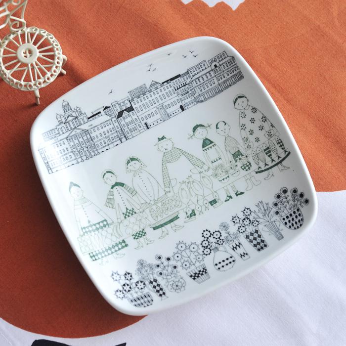 【 アンティーク 】 アラビア エミリア スクエアプレート 15.5cm 《 ビンテージ vintage ヴィンテージ 》 【 Arabia Emilia 】( キッチンブランチ )