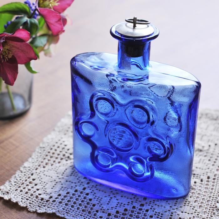【 アンティーク 】 リーヒマエン・ラシ ボトル ブルー 《 ビンテージ vintage ヴィンテージ 》 【 Riihimaen Lasi 】( キッチンブランチ )