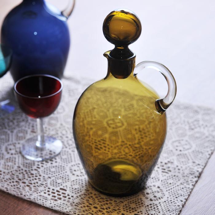 【 アンティーク 】 ヌータヤルヴィ サーラ・ホペア ボトル アンバー 《 ビンテージ vintage ヴィンテージ 》 【 Arabia アラビア Nuutajarvi Saara Hopea 】( キッチンブランチ )