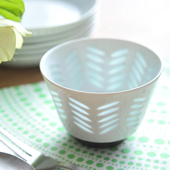 【 アンティーク 】 アラビア ライスポーセリン ボウル 9cm <リーフ> 《 ビンテージ vintage ヴィンテージ 》 【 Arabia Rice Porcelain 】( キッチンブランチ )