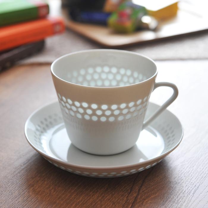 【 アンティーク 】 アラビア ライスポーセリン カップ&ソーサー ドット 《 ビンテージ vintage ヴィンテージ 》 【 Arabia Rice Porcelain 】( キッチンブランチ )