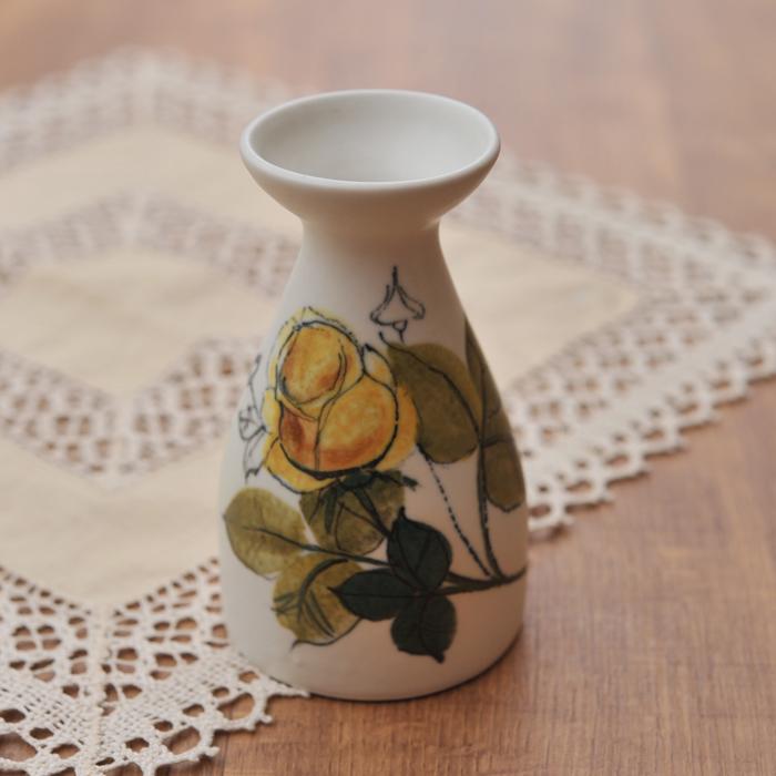 【 アンティーク 】 アラビア HLA 黄色のバラ ベース 12cm 《 ビンテージ vintage ヴィンテージ 》 【 Arabia キッチンブランチ 】