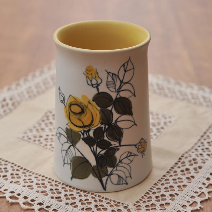 【 アンティーク 】 アラビア HLA 黄色のバラ ベース 14.5cm 《 ビンテージ vintage ヴィンテージ 》 【 Arabia キッチンブランチ 】