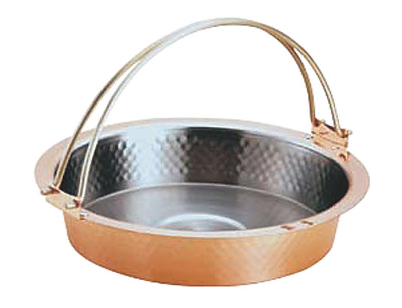 銅製槌目入すきやき鍋ツル付 26cm S-2058L