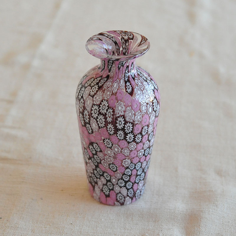 【イタリア直輸入 木箱入り手作り一点もの】ベネチアンガラス ベース(花瓶)(678)<ピンク>( キッチンブランチ )