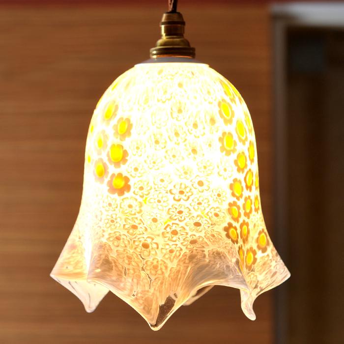 【イタリア直輸入 手作り一点もの】 ベネチアンガラス ペンダントライト(ソケット日本仕様) (N658)( キッチンブランチ )